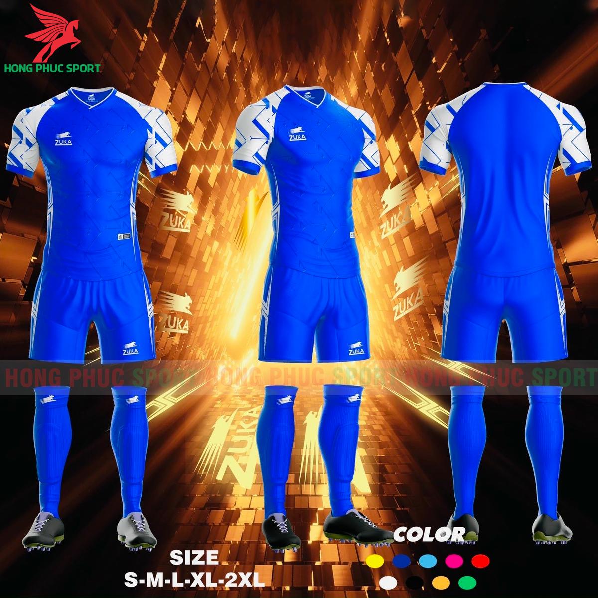 Áo đá banh không logo ZUKA SPF012021 màu xanh dương