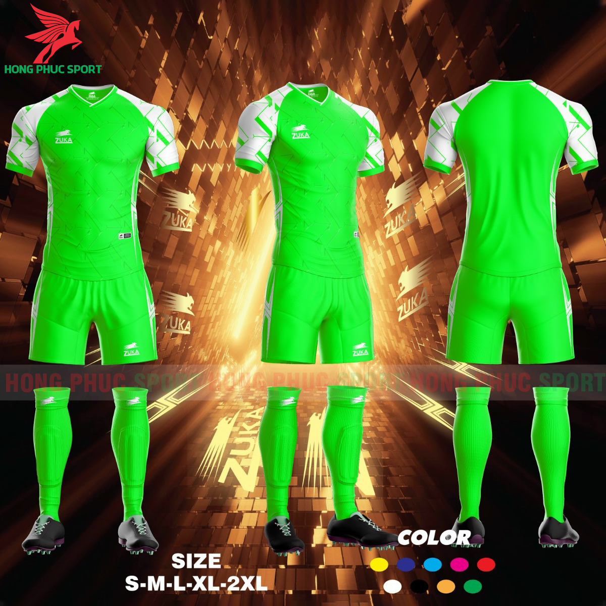 Áo đá banh không logo ZUKA SPF012021 màu xanh lá