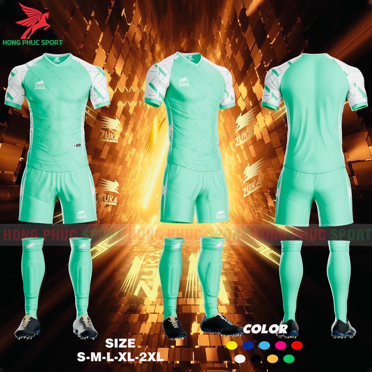 Áo đá banh không logo ZUKA SPF012021 màu xanh ngọc