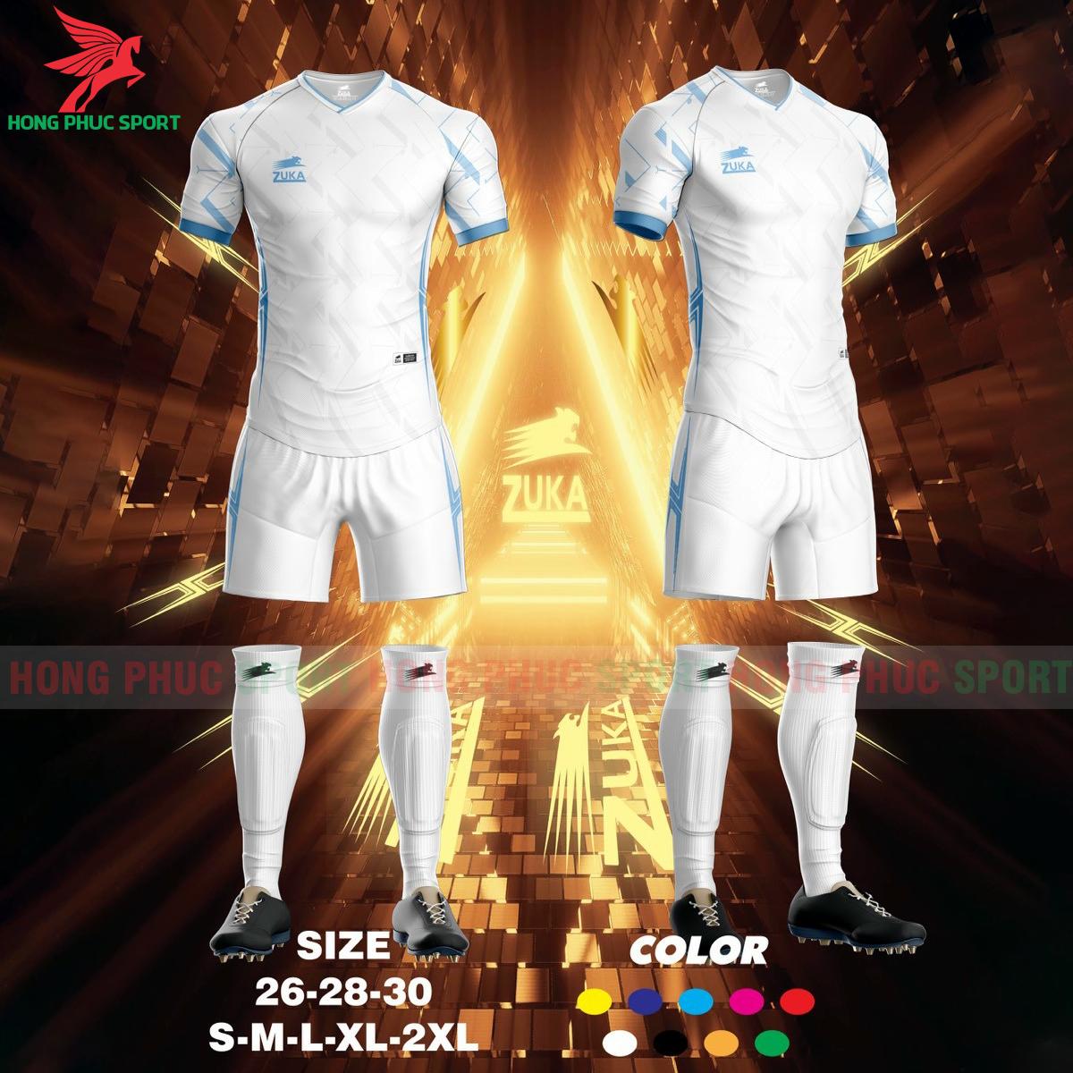 Áo đá banh không logo ZUKA SPF022021 màu trắng