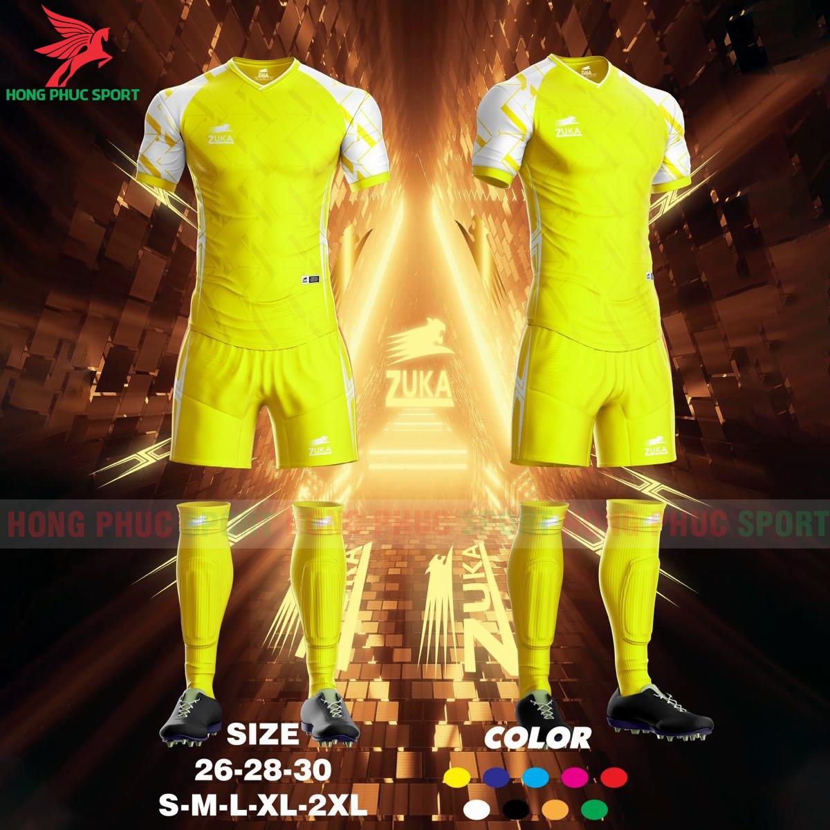 Áo đá banh không logo ZUKA SPF022021 màu vàng