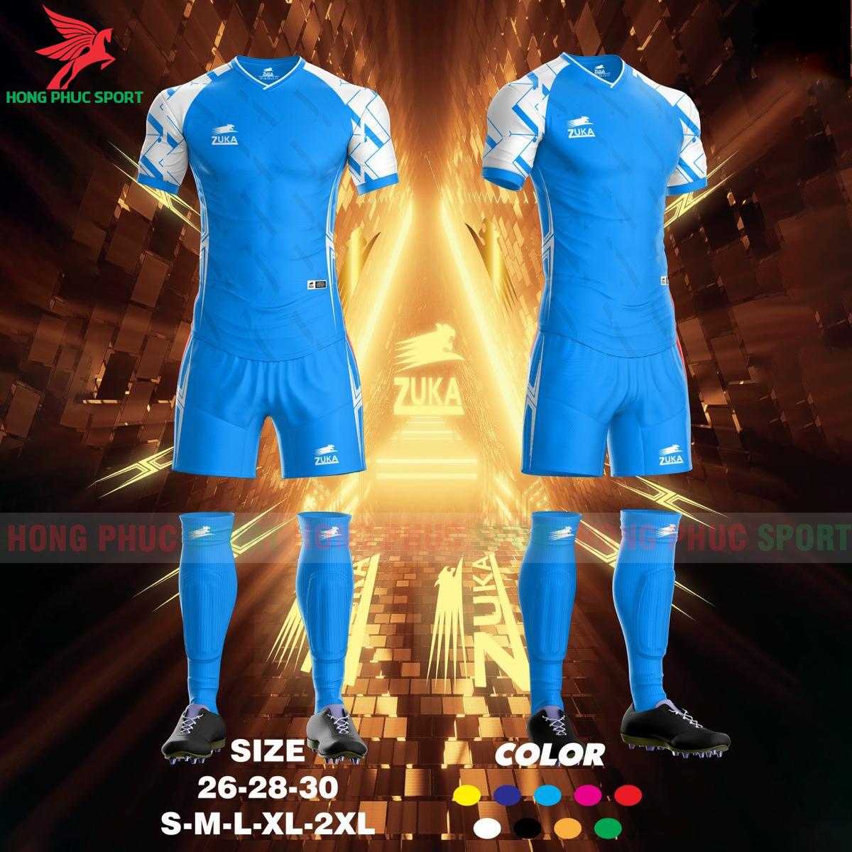 Áo đá banh không logo ZUKA SPF022021 màu xanh da