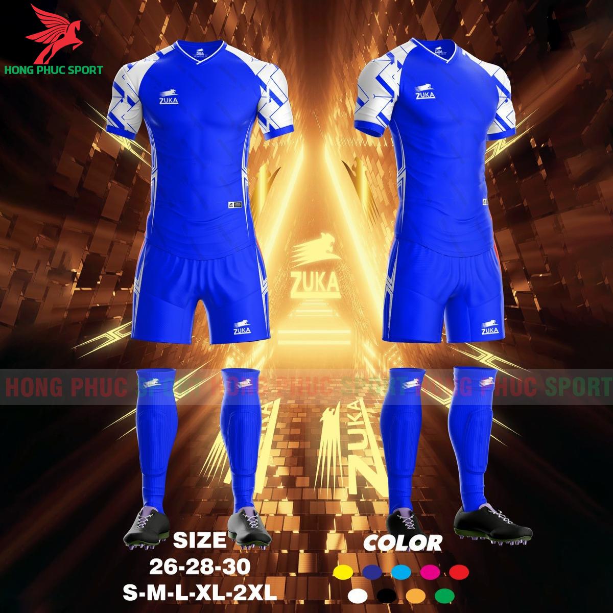 Áo đá banh không logo ZUKA SPF022021 màu xanh dương