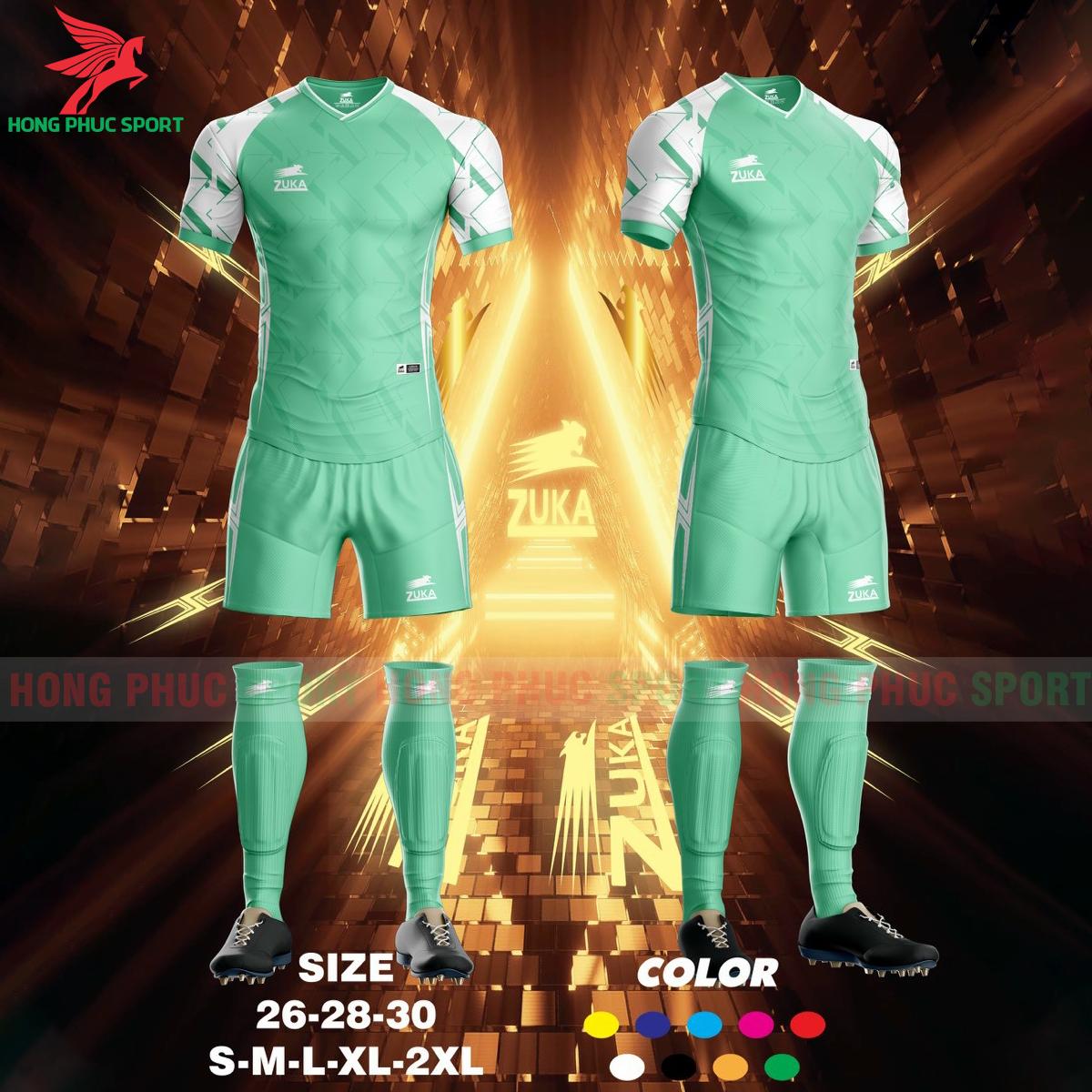 Áo đá banh không logo ZUKA SPF022021 màu xanh ngọc
