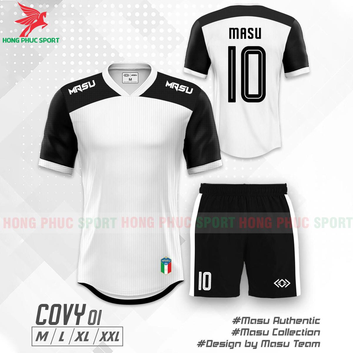 Áo đá banh không logo Masu Covy 2021 mẫu 01 màu trắng phối đen