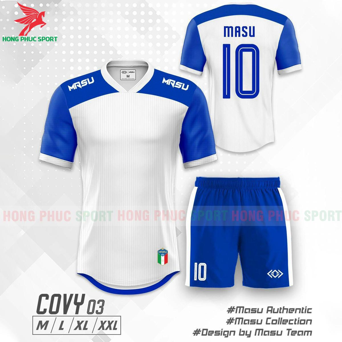 Áo đá banh không logo Masu Covy 2021 mẫu 02màu trắng phối xanh dương
