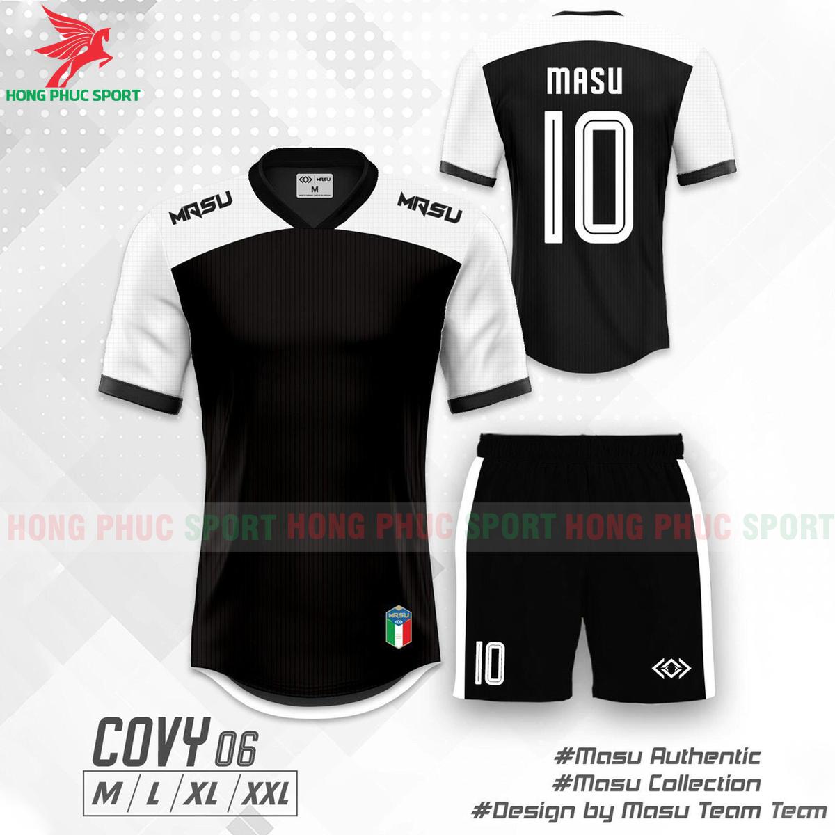 Áo đá banh không logo Masu Covy 2021 mẫu 06màu đen