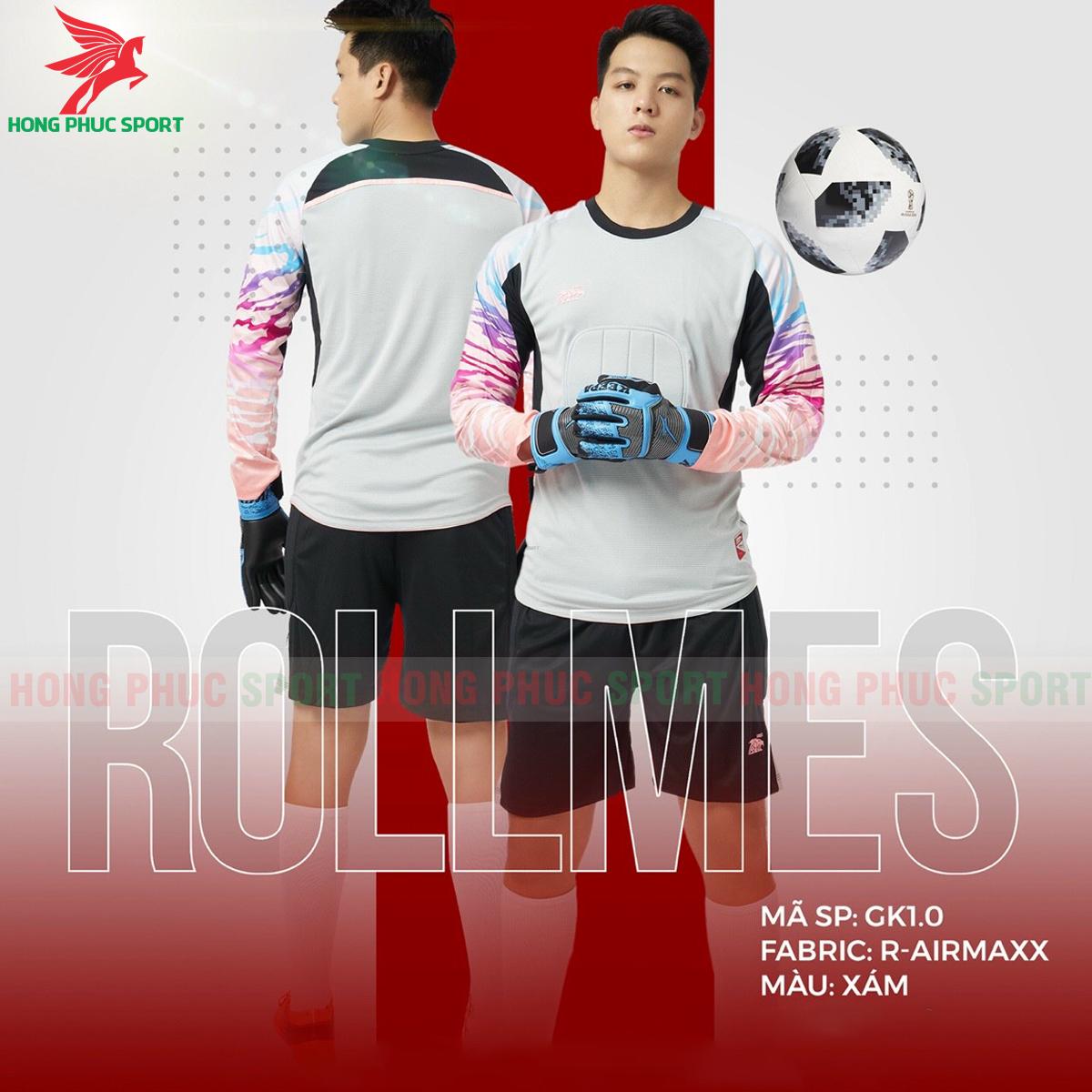 Áo bóng đá thủ môn Riki Rollmes 2021màu Xám