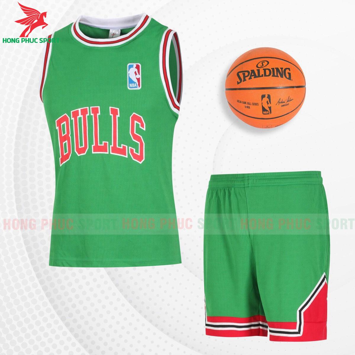 Quần áo bóng rổBulls 2021màu xanh lá