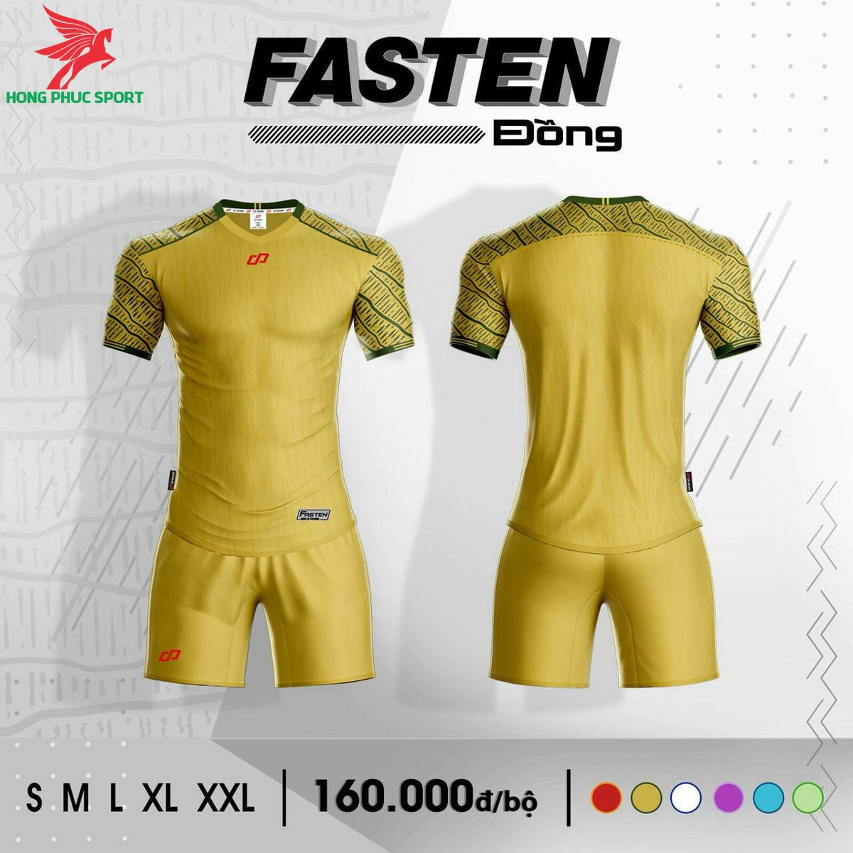 Áo đá banh không logo CP FASTEN2021 màu Vàng đồng