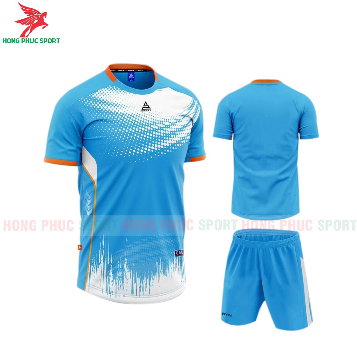 Áo đá banh không logo Draha Galaxy 2021 màu xanh da