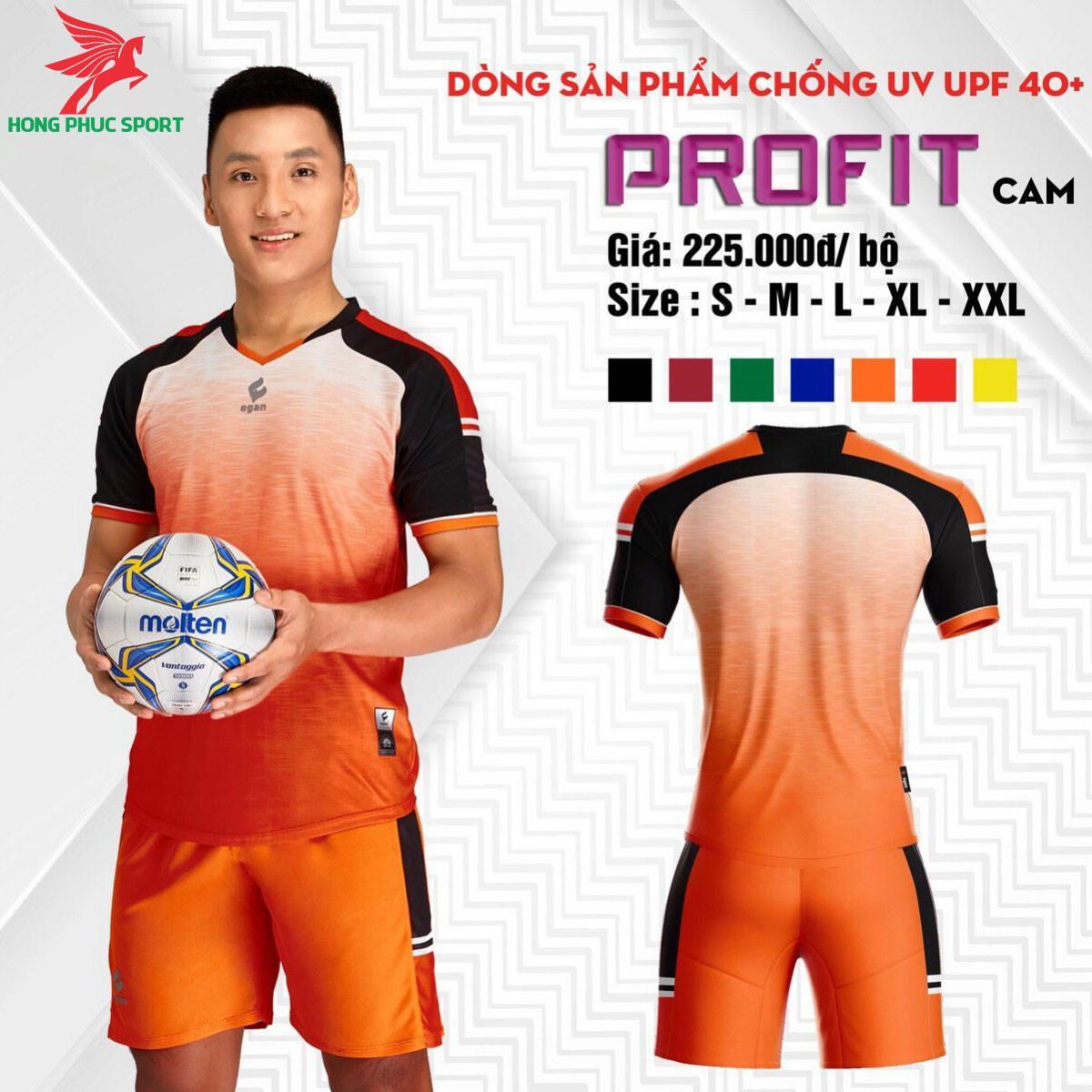 Áo đá banh không logo CP EGAN PROFIT 2021 màu Cam
