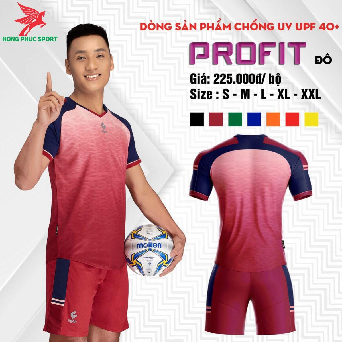 Áo đá banh không logo CP EGAN PROFIT 2021 màu Đô