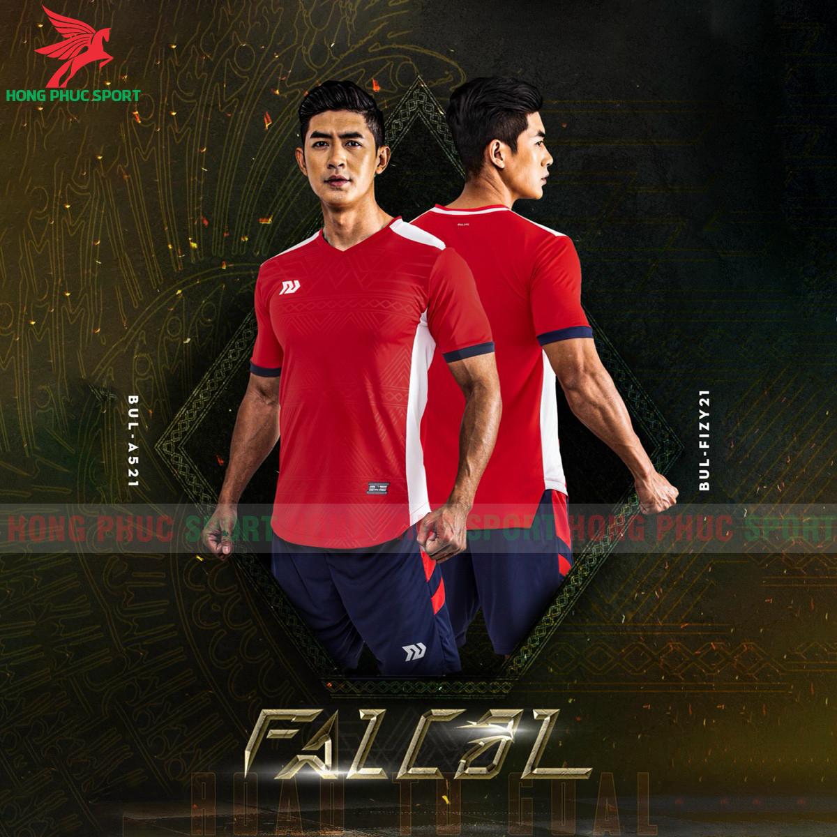 Áo đá banh không logo Bulbal Falcol 2021 màu đỏ (2)