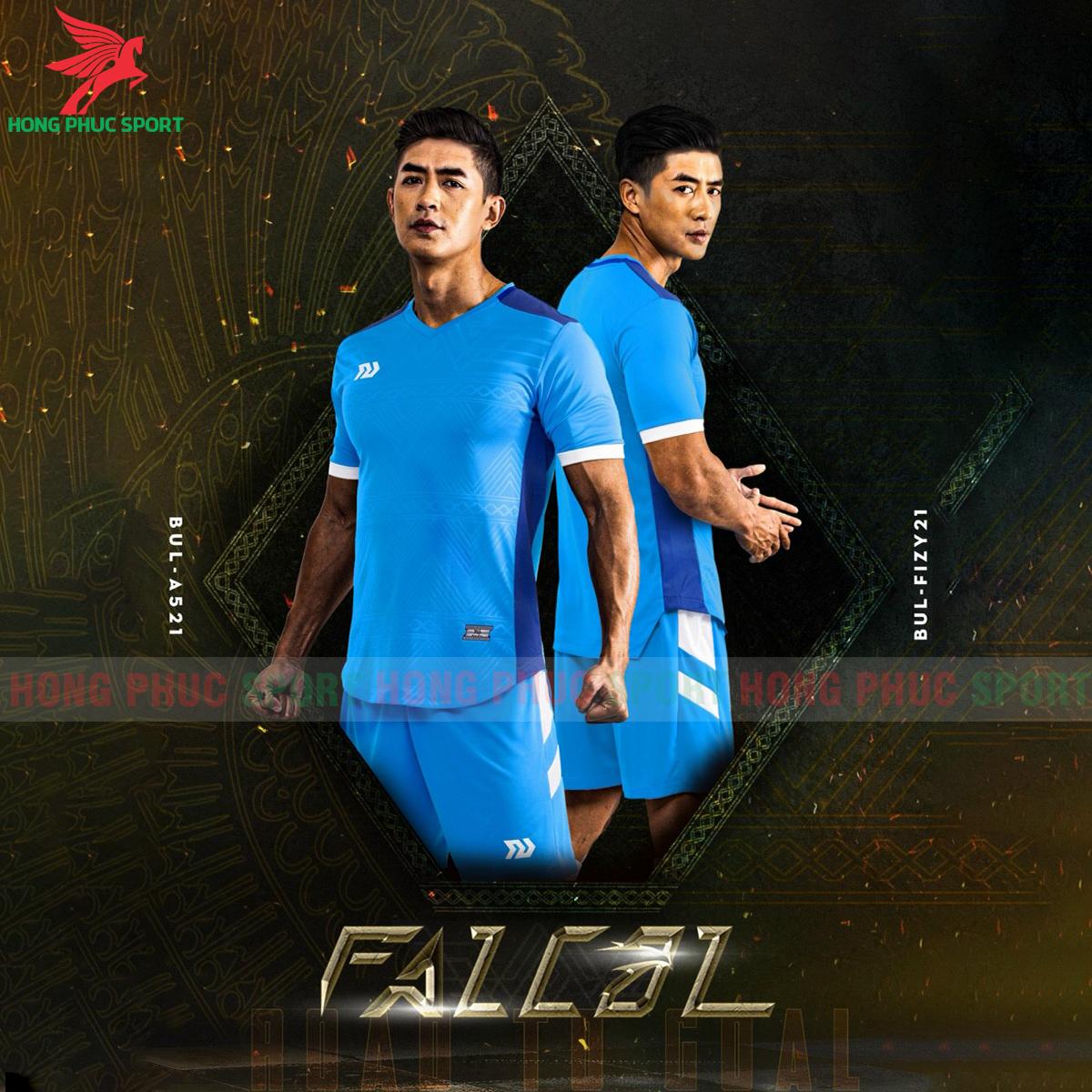 Áo đá banh không logo Bulbal Falcol 2021 màu xanh da(2)