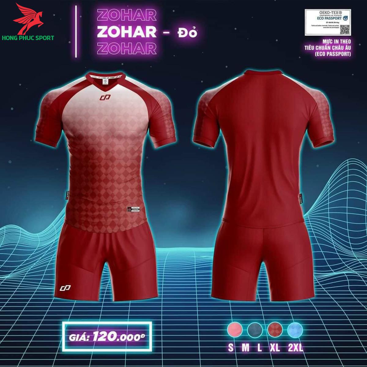 Áo đá banh không logo CP ZOHAR2021 màu Đỏ