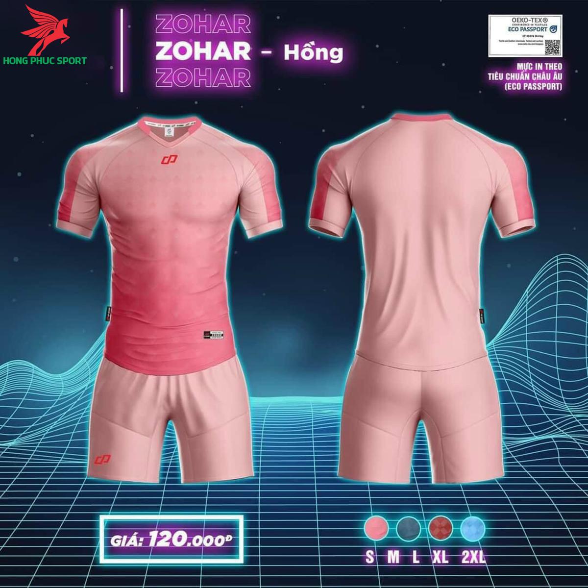 Áo đá banh không logo CP ZOHAR2021 màu Hồng