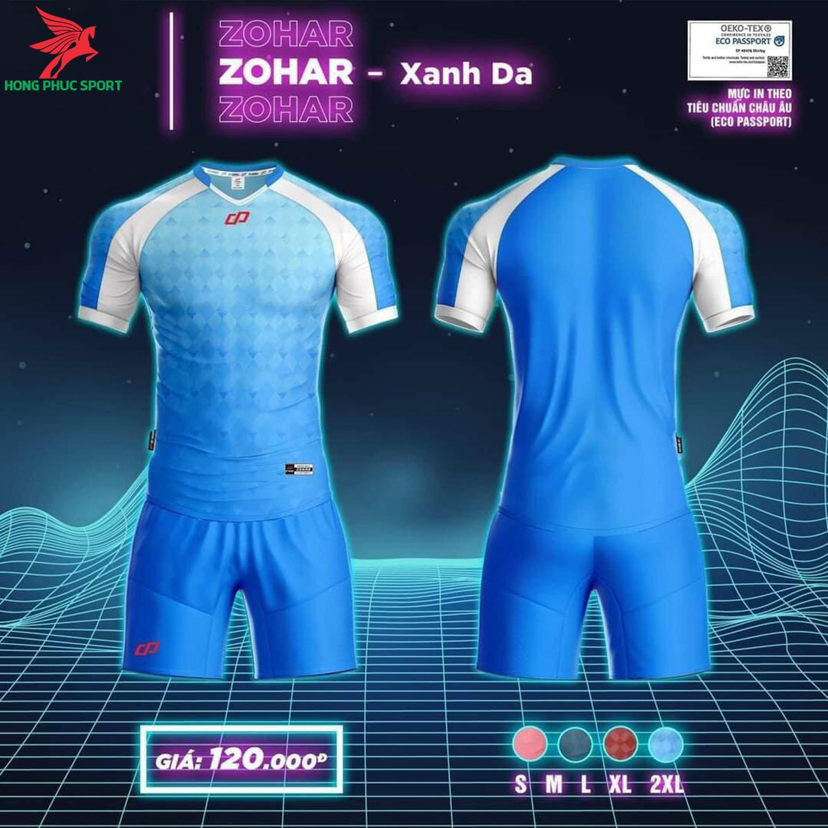Áo đá banh không logo CP ZOHAR2021 màu Xanh Da