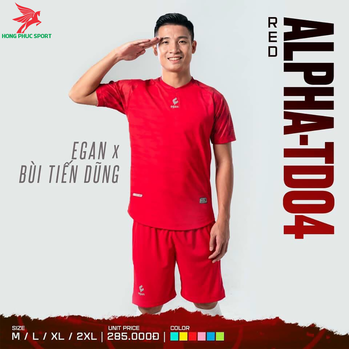 Áo đá banh không logo CP EGAN ALPHA-TD04 2021 màu đỏ