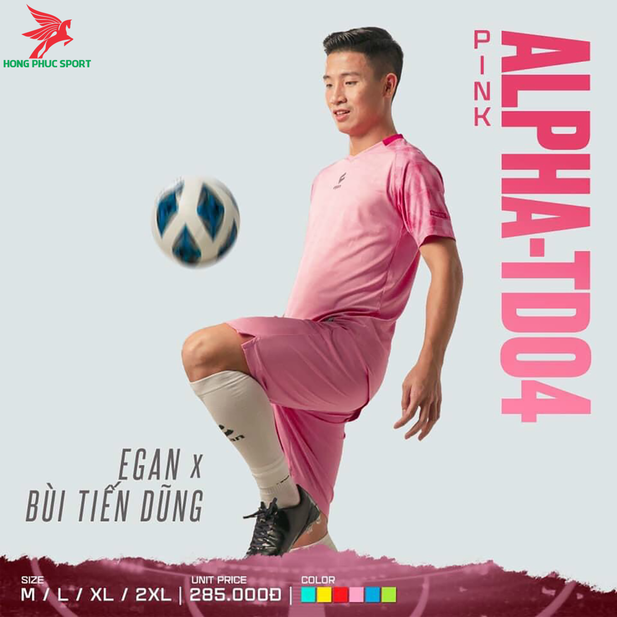 Áo đá banh không logo CP EGAN ALPHA-TD04 2021 màu hồng