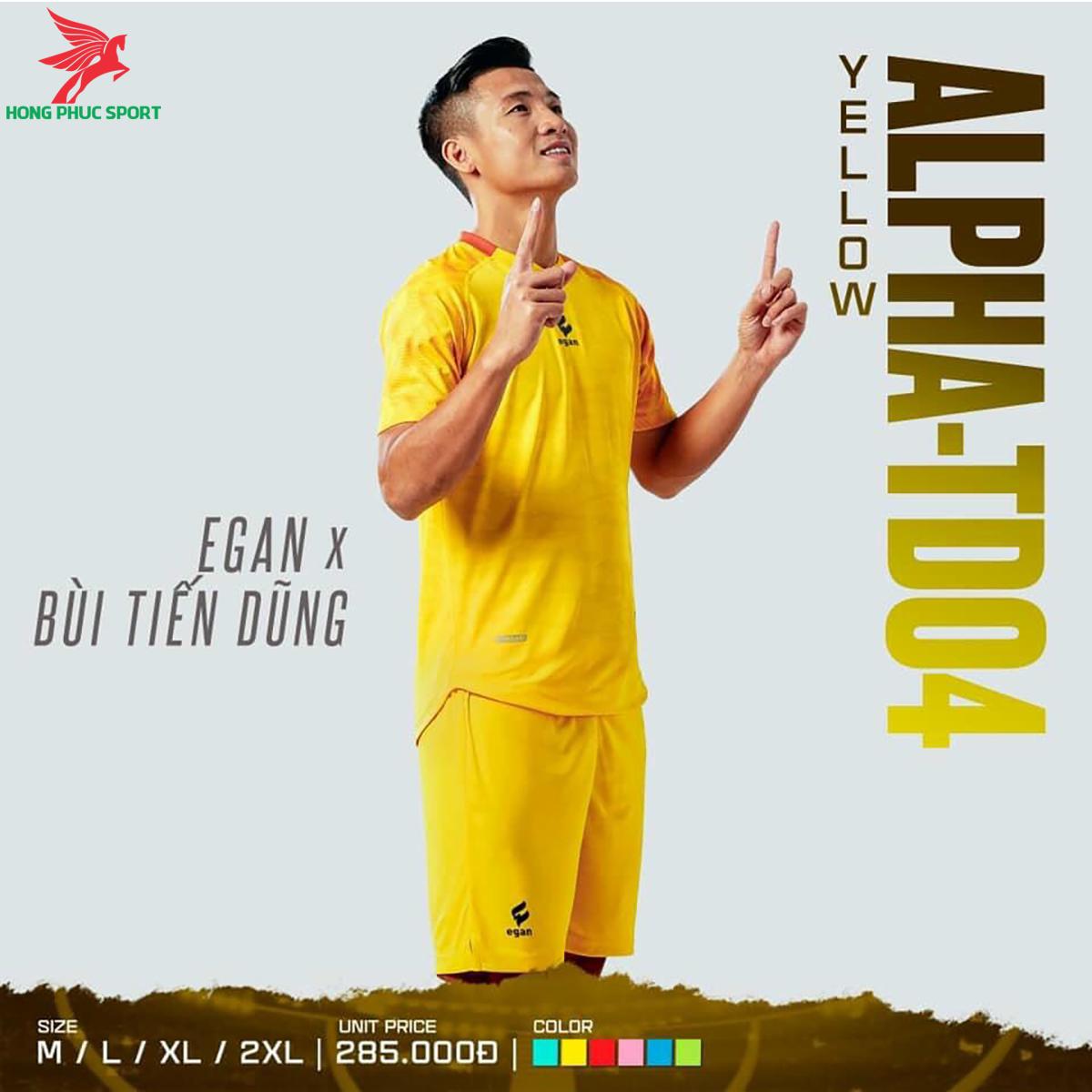 Áo đá banh không logo CP EGAN ALPHA-TD04 2021 màu vàng