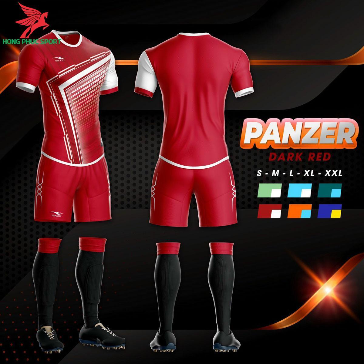 Áo đá banh không logo Keep and Fly Panzer đỏ