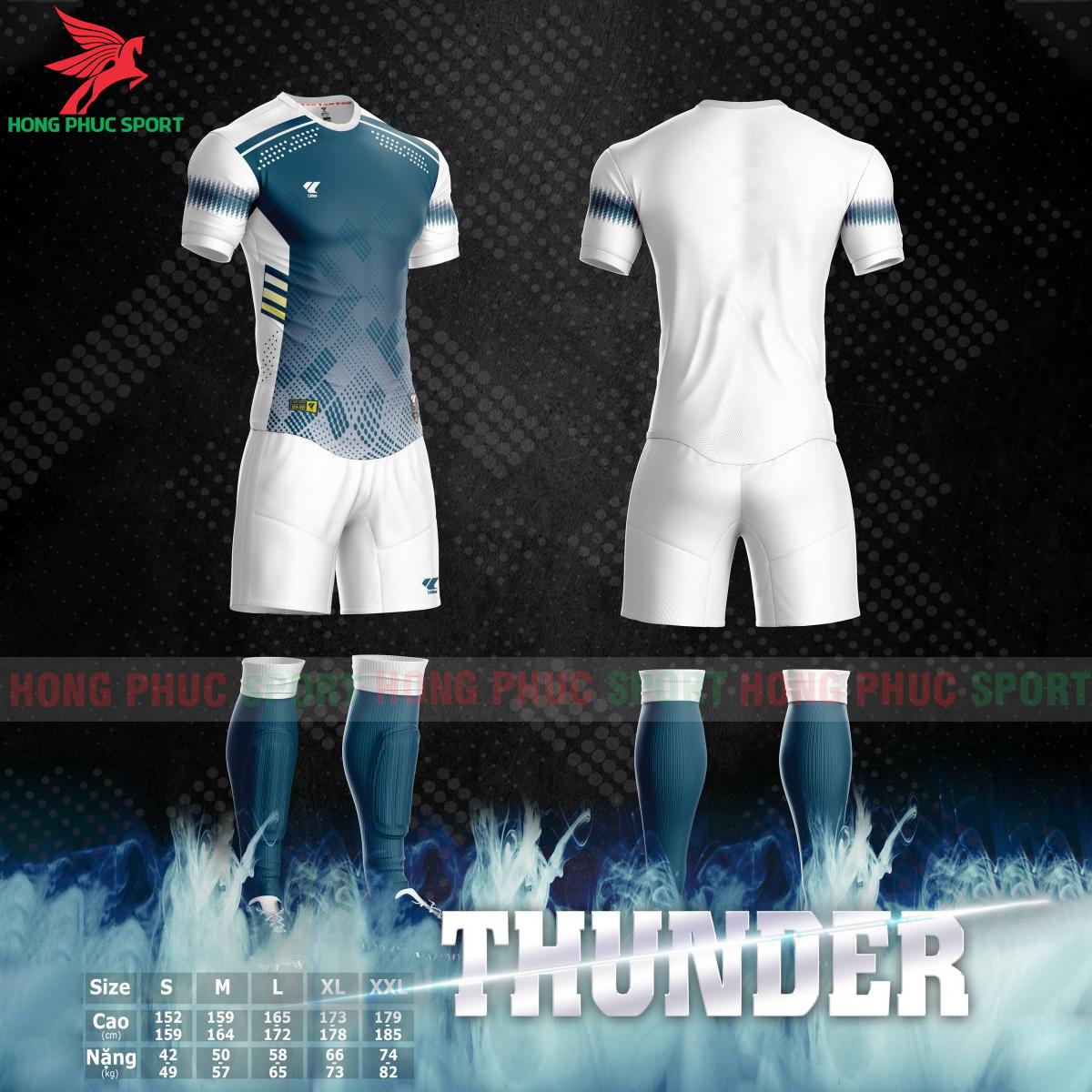 Áo bóng đá không logo Lidas Thundermàu xanh mòng két