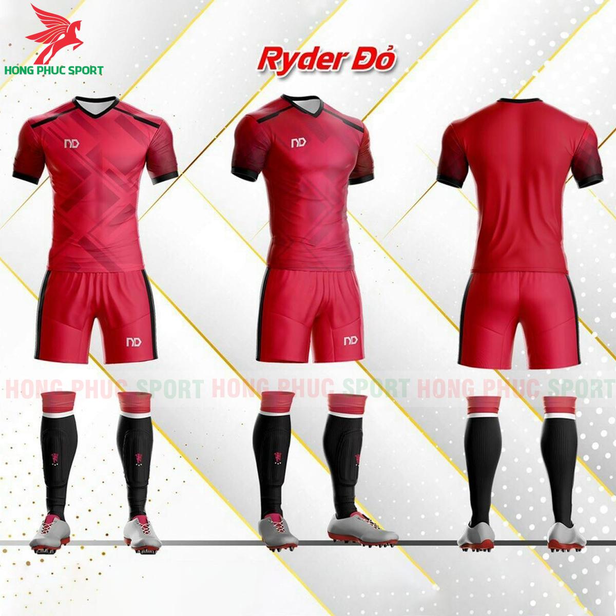 Áo đá banh không logo ND Ryder2021 màu đỏ