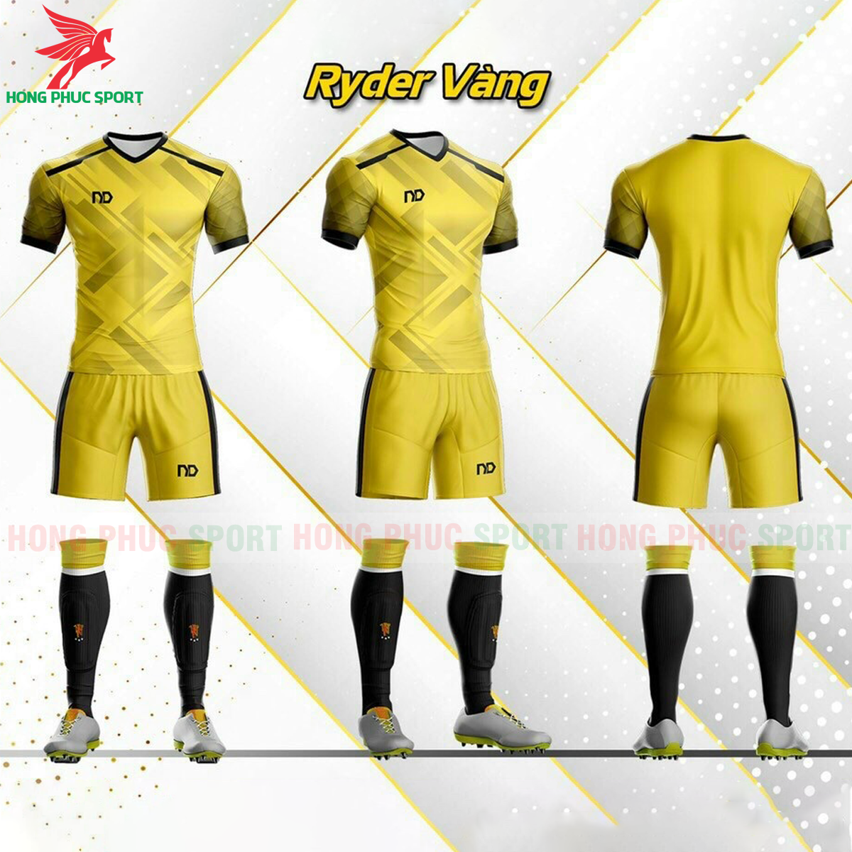 Áo đá banh không logo ND Ryder2021 màu vàng