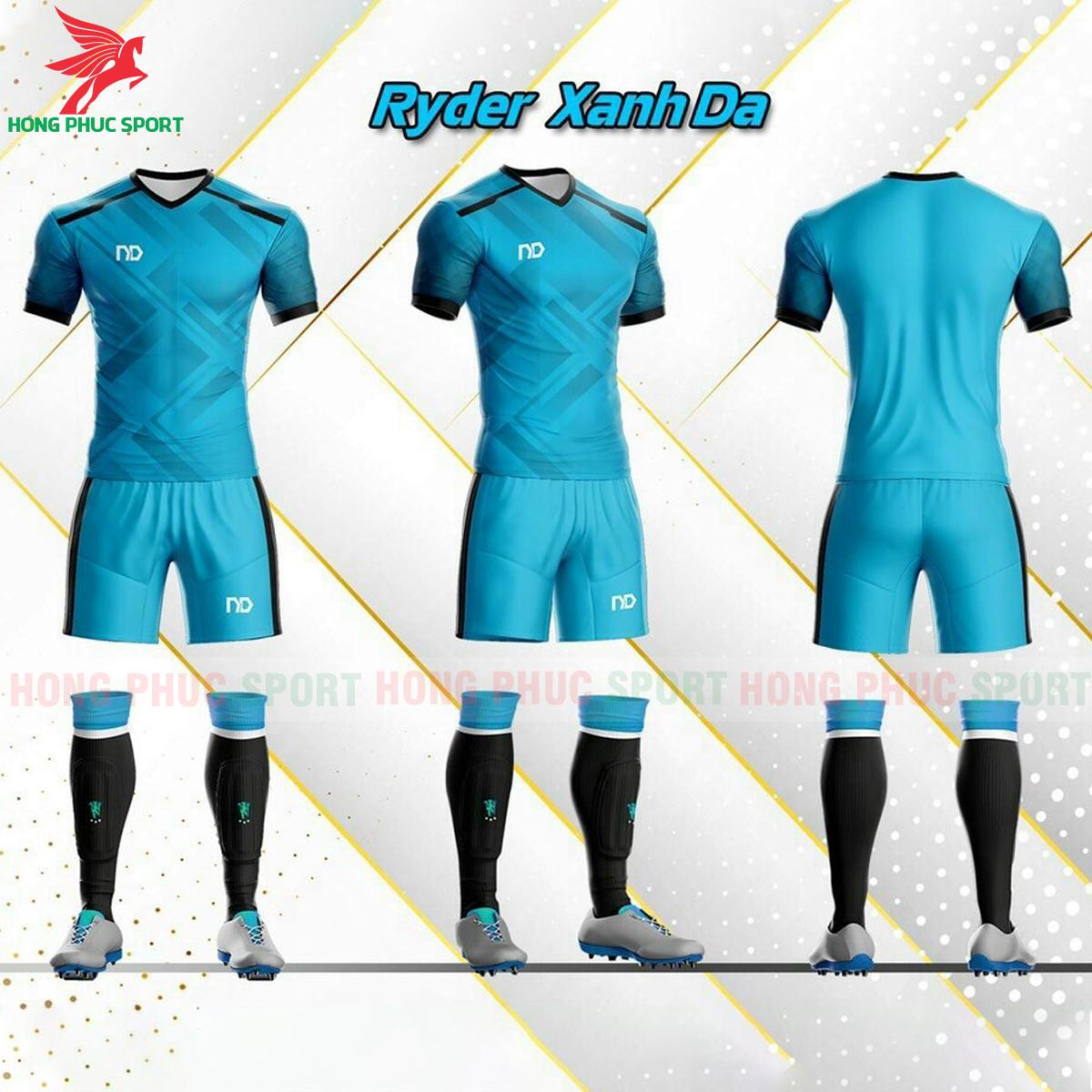 Áo đá banh không logo ND Ryder2021 màu xanh da