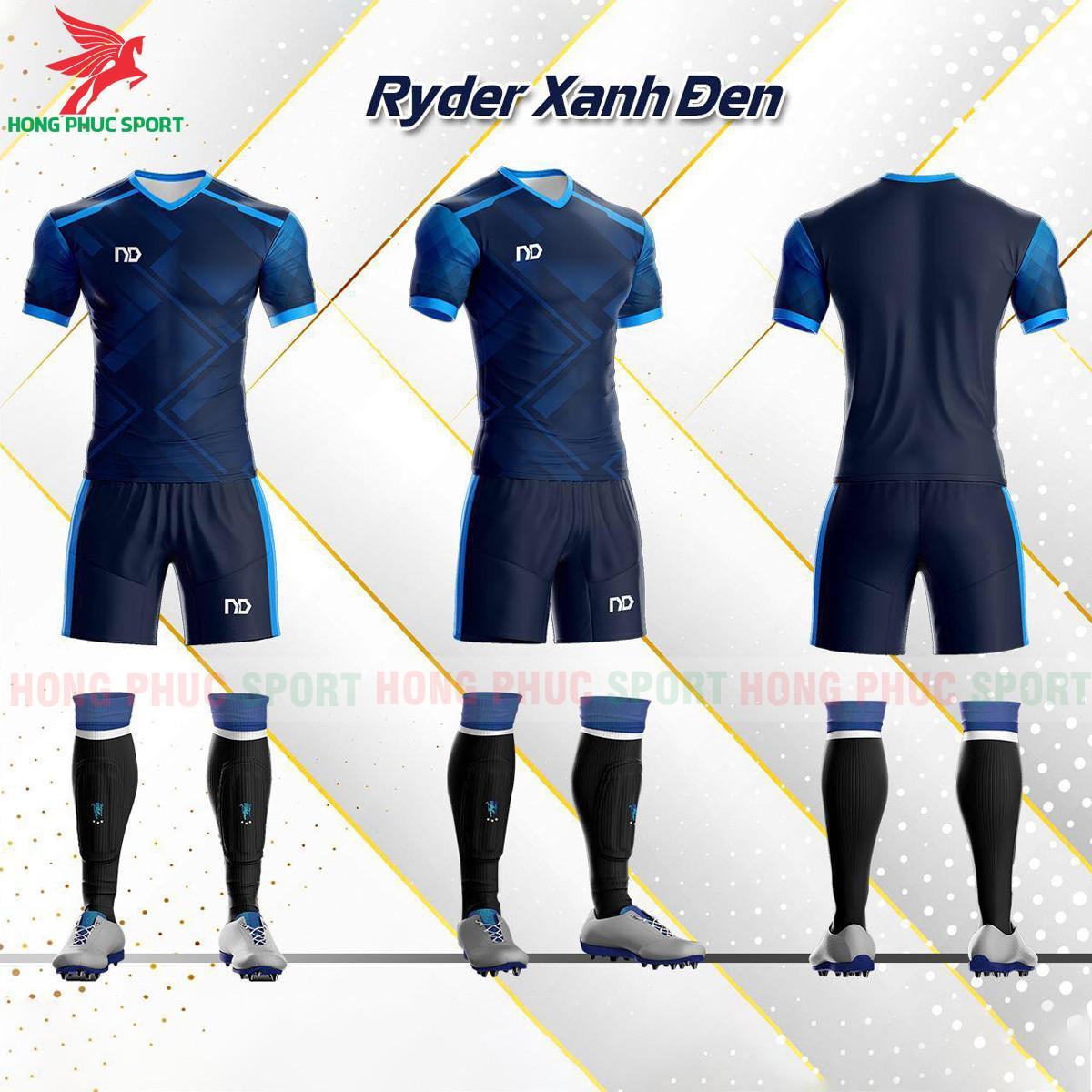 Áo đá banh không logo ND Ryder2021 màu xanh đen