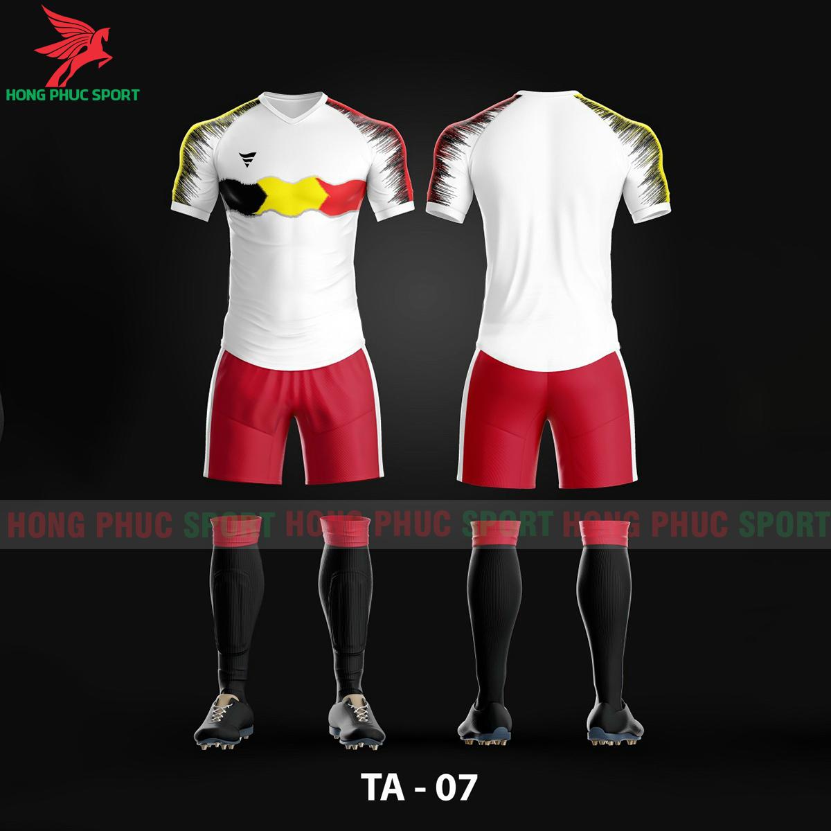Áo bóng đá không logo TA-A07màu Trắng