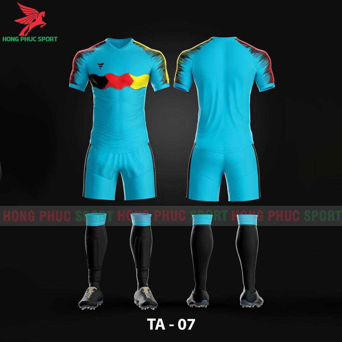 Áo bóng đá không logo TA-A07màu Xanh da