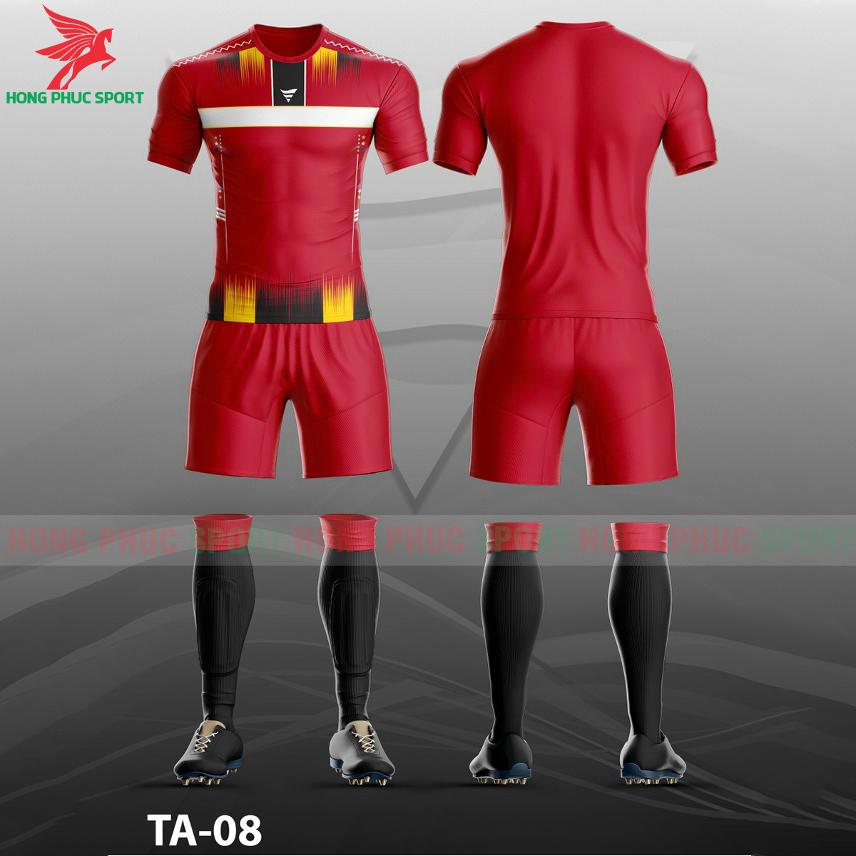 Áo bóng đá không logo TA-A08màu Đỏ