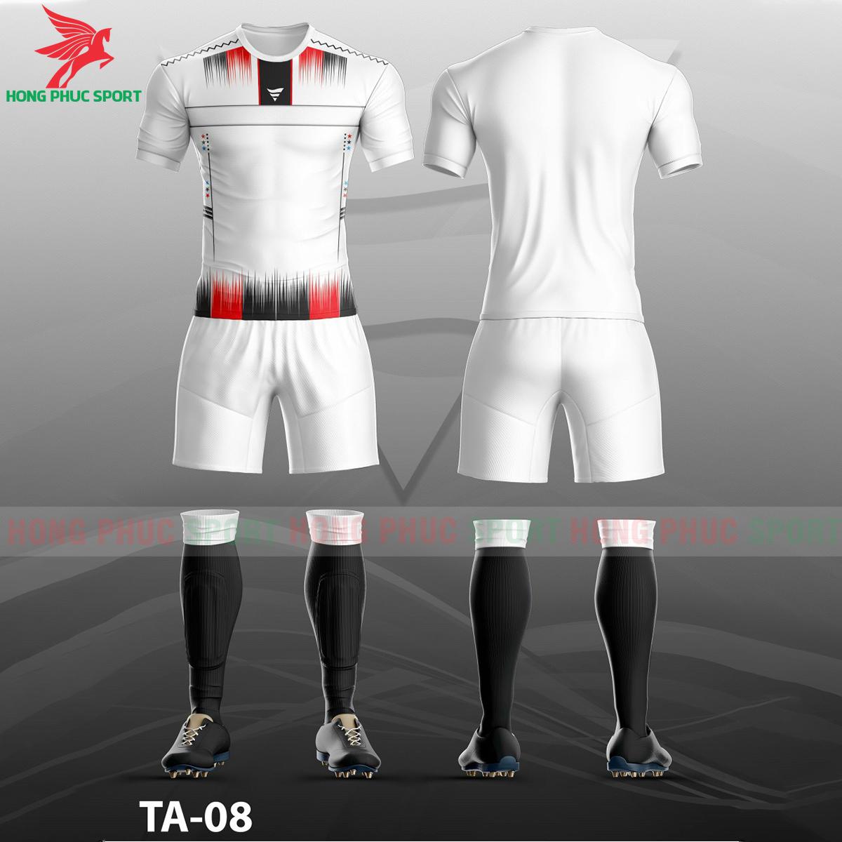 Áo bóng đá không logo TA-A08màu Trắng