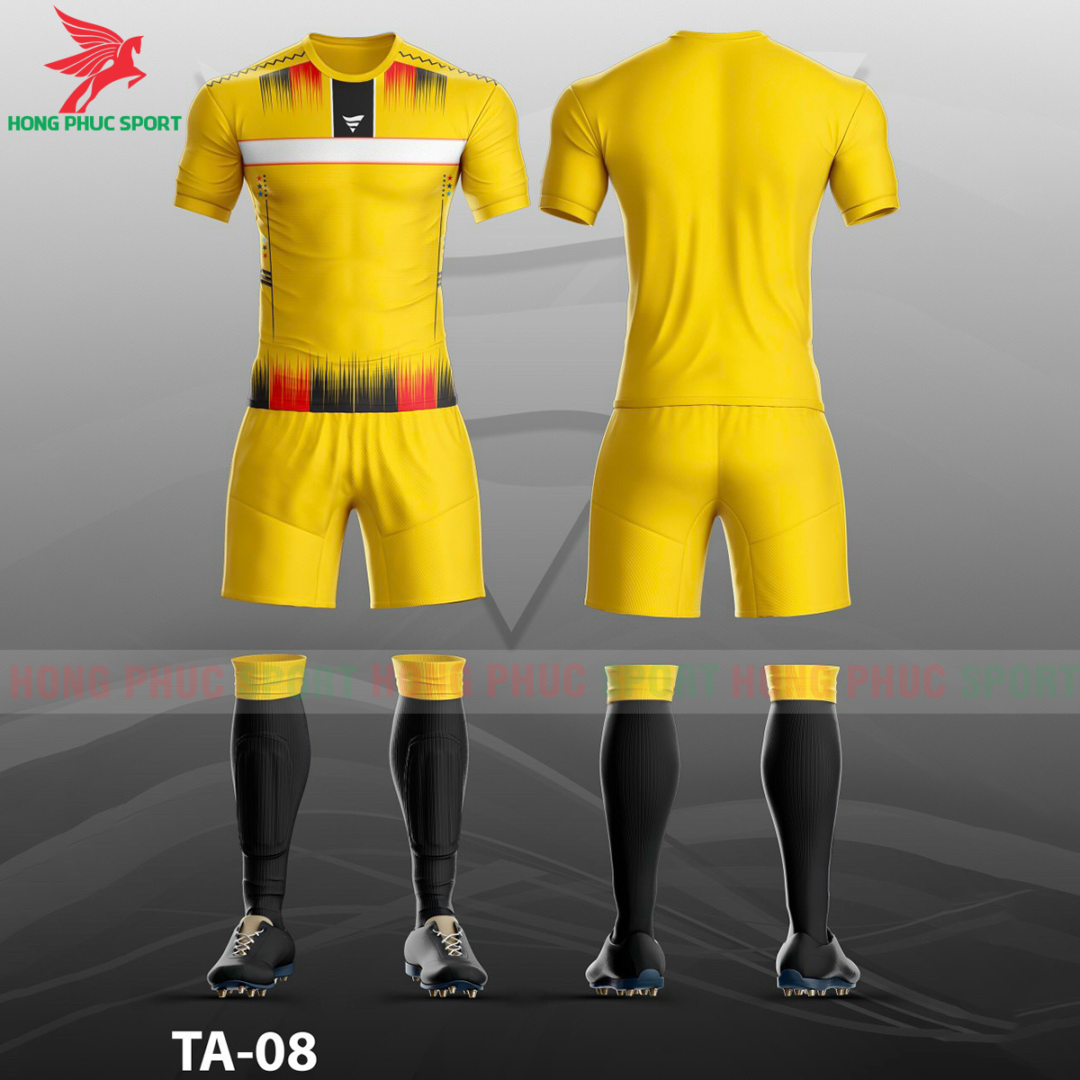 Áo bóng đá không logo TA-A08màu Vàng
