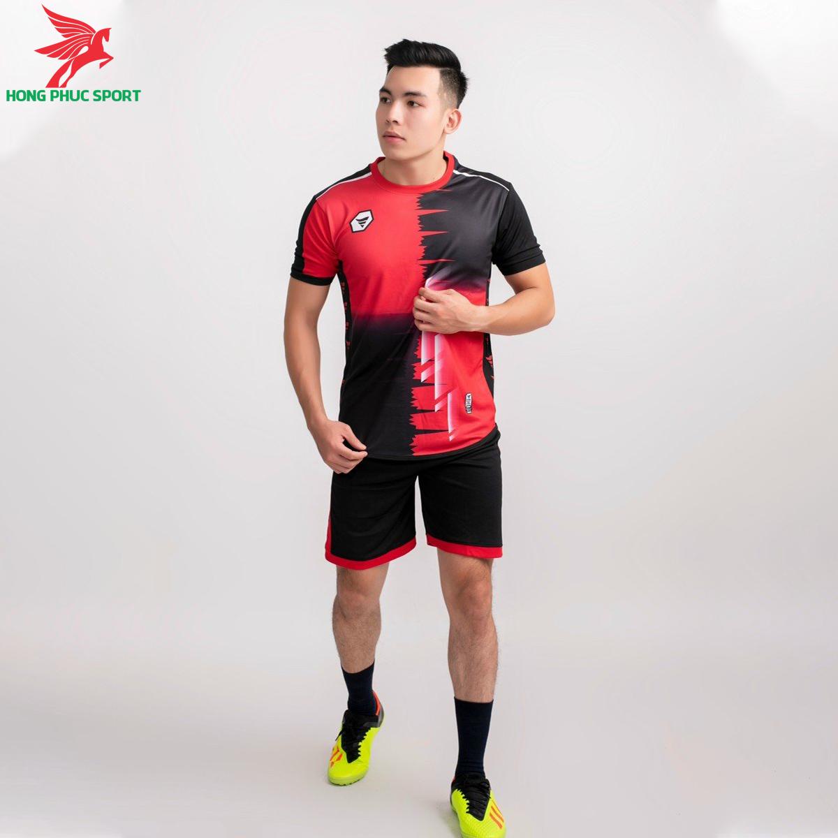 Áo bóng đá không logo TA-A09 màu Đen phối Đỏ