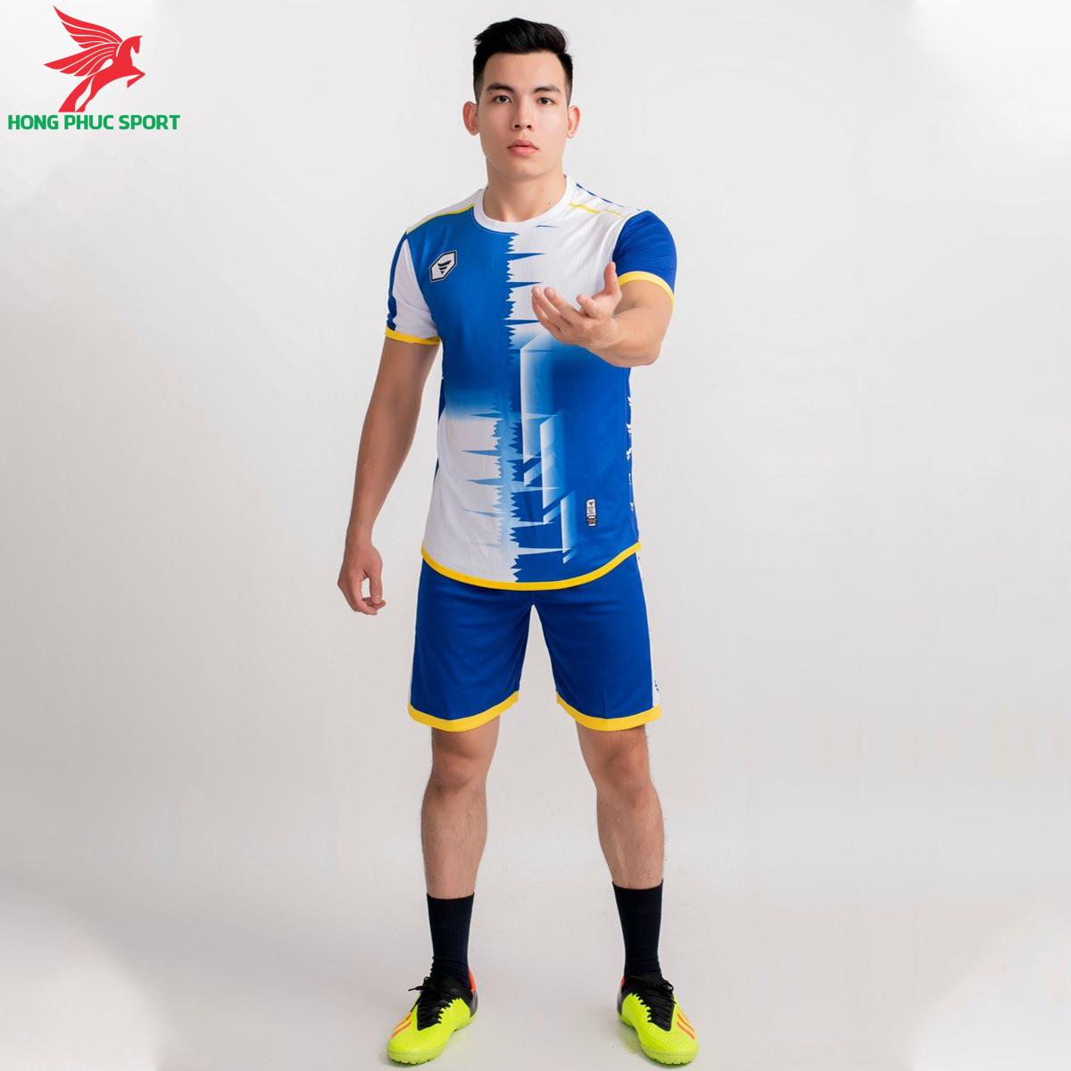 Áo bóng đá không logo TA-A09 màu Xanh dương phối Trắng