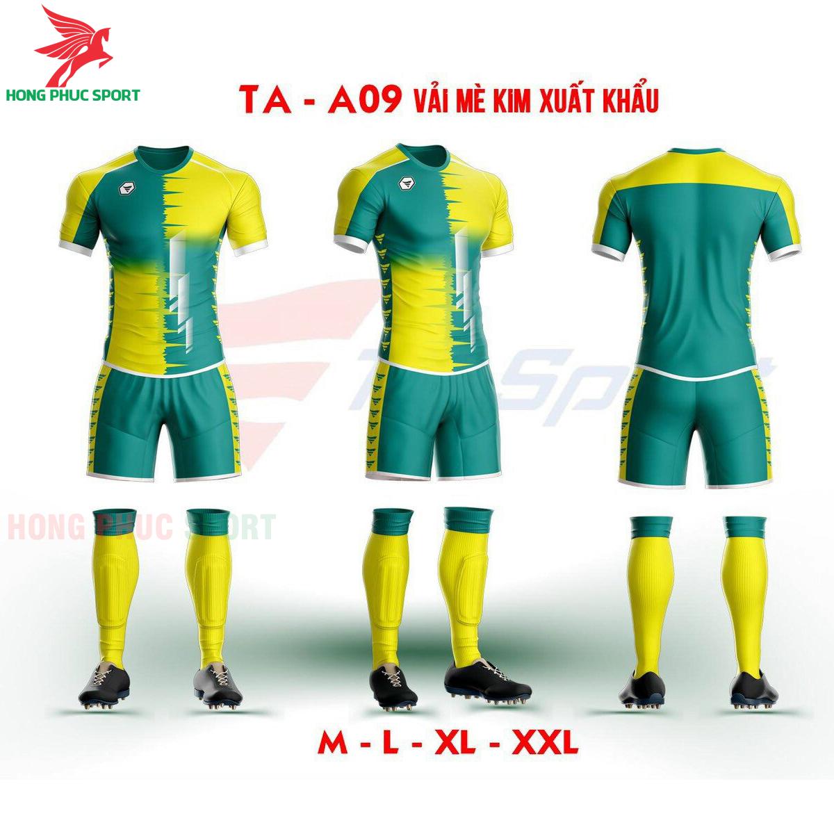 Áo bóng đá không logo TA-A09 màu Xanh lá phối Vàng