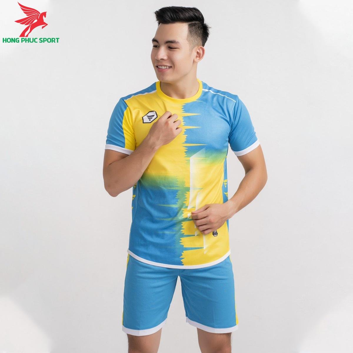 Áo bóng đá không logo TA-A09 màu Xanh ngọc phối Vàng
