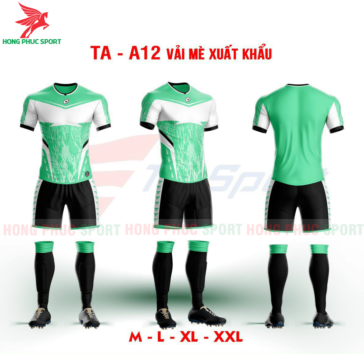 Áo bóng đá không logo TA-A12màu Xanh lá