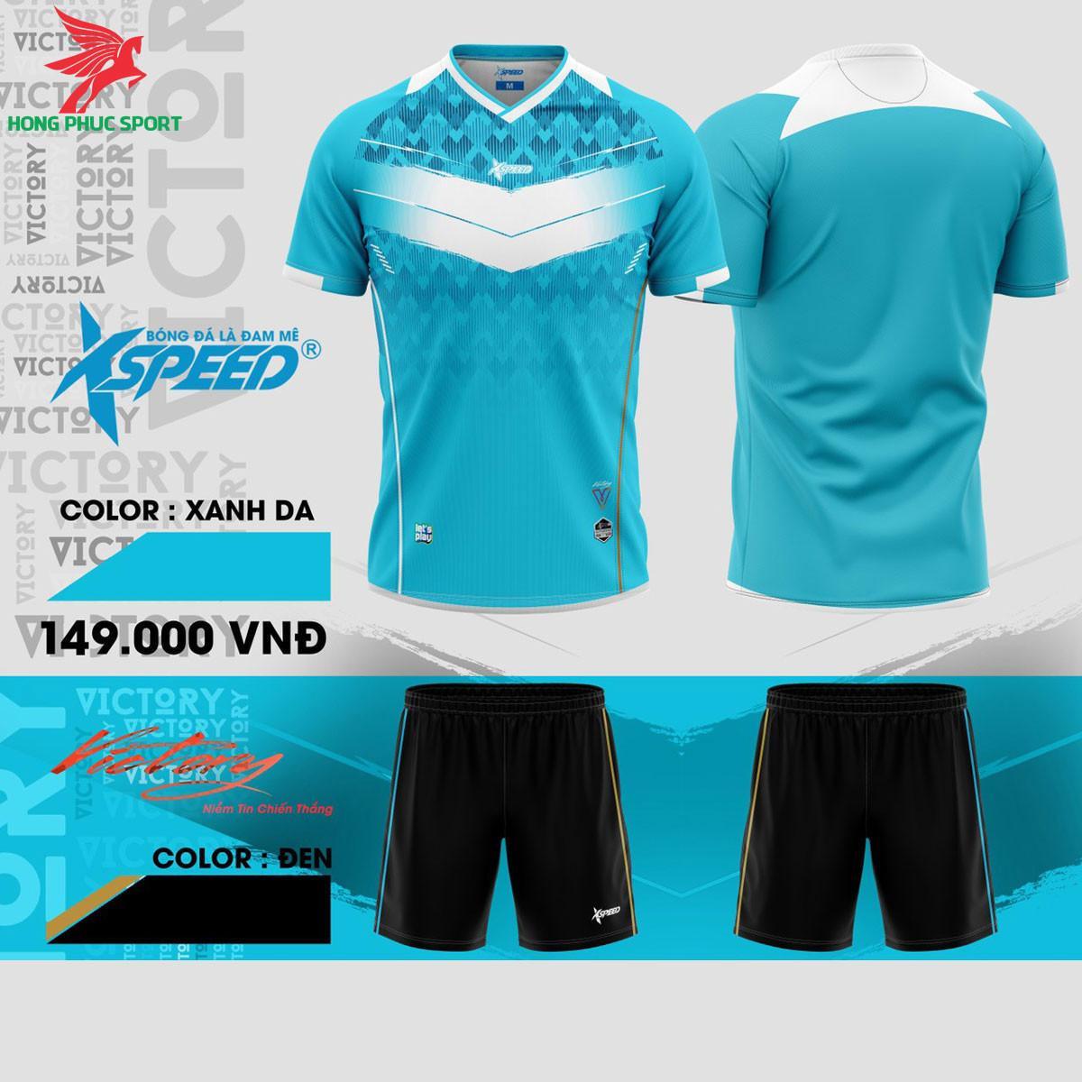 Áo đá banh không logo Xspeed Victory S8Xanh da