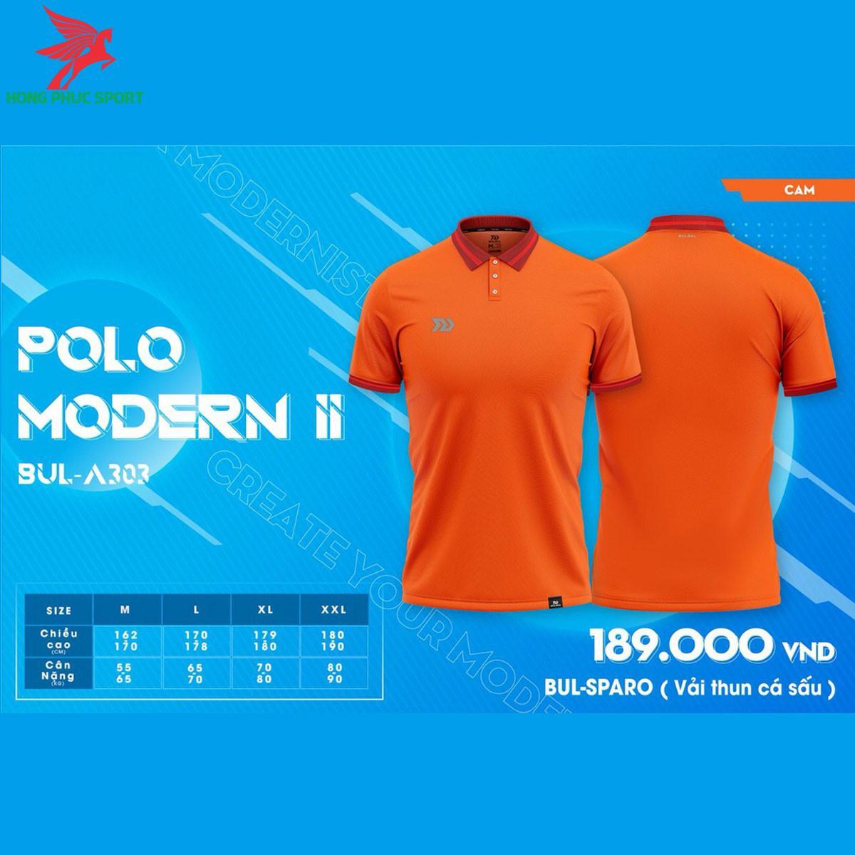 Áo đá banh không logo BULBAL MODERN II2021 màu Cam