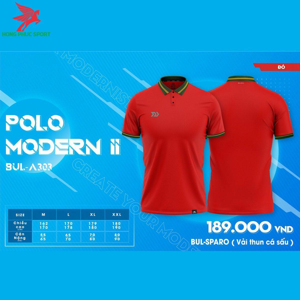 Áo đá banh không logo BULBAL MODERN II2021 màu Đỏ