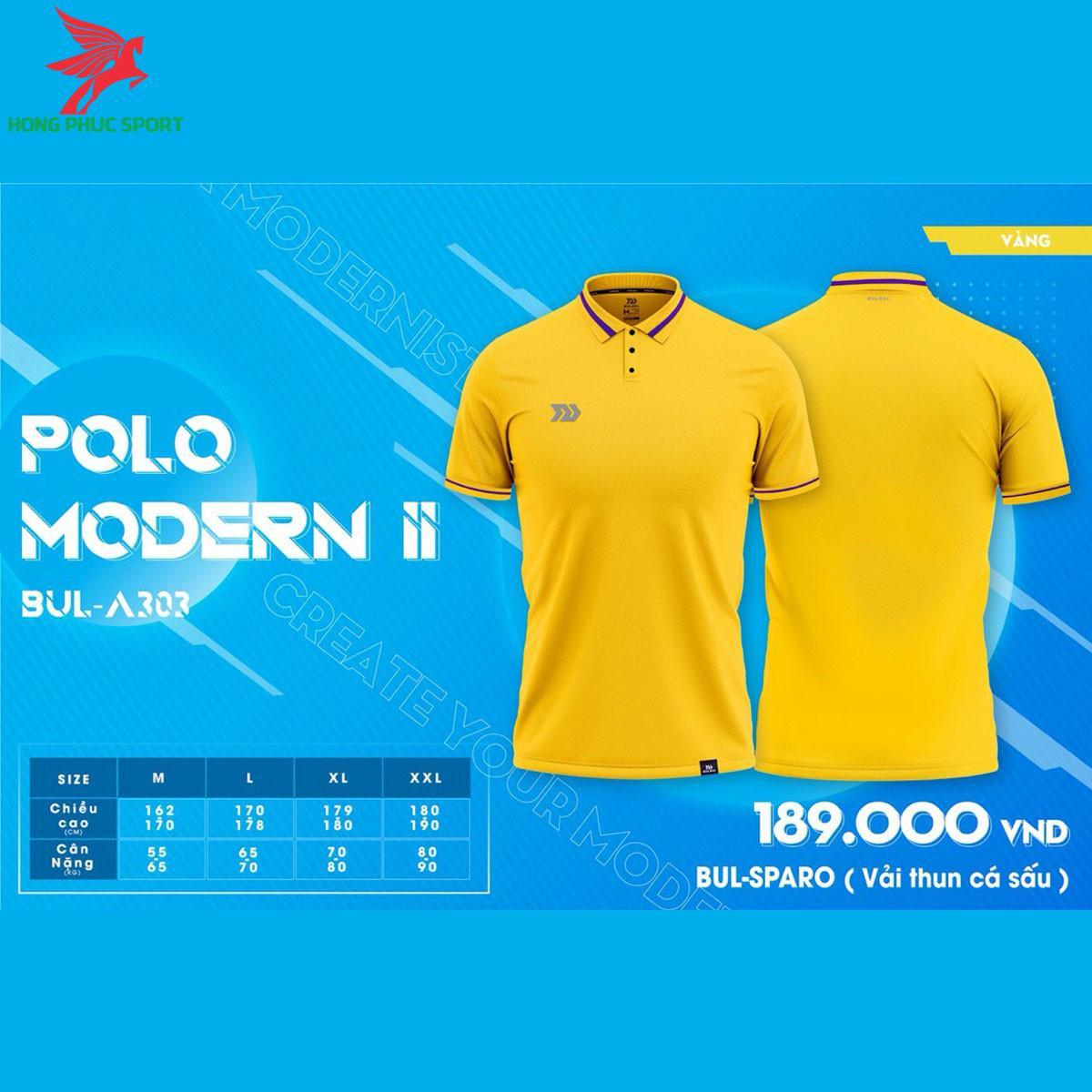 Áo đá banh không logo BULBAL MODERN II2021 màu Vàng