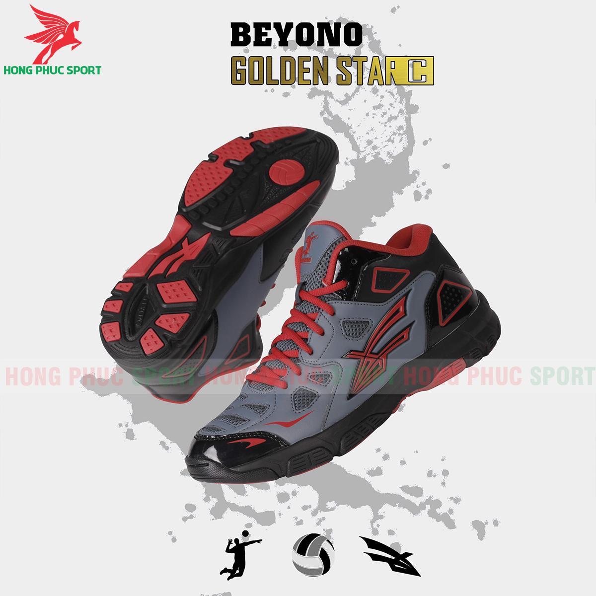 Giày bóng chuyền Beyono Golden Star C màu đen xám