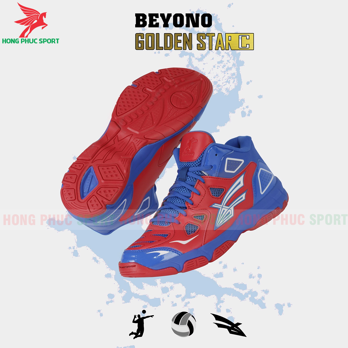 Giày bóng chuyền Beyono Golden Star C màu đỏ xanh