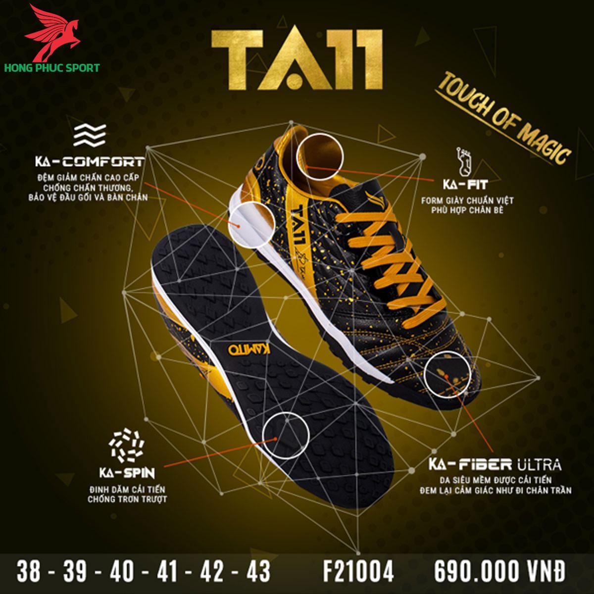 Giày đá banh Kamito TA11 sân cỏ nhân tạo màu đen