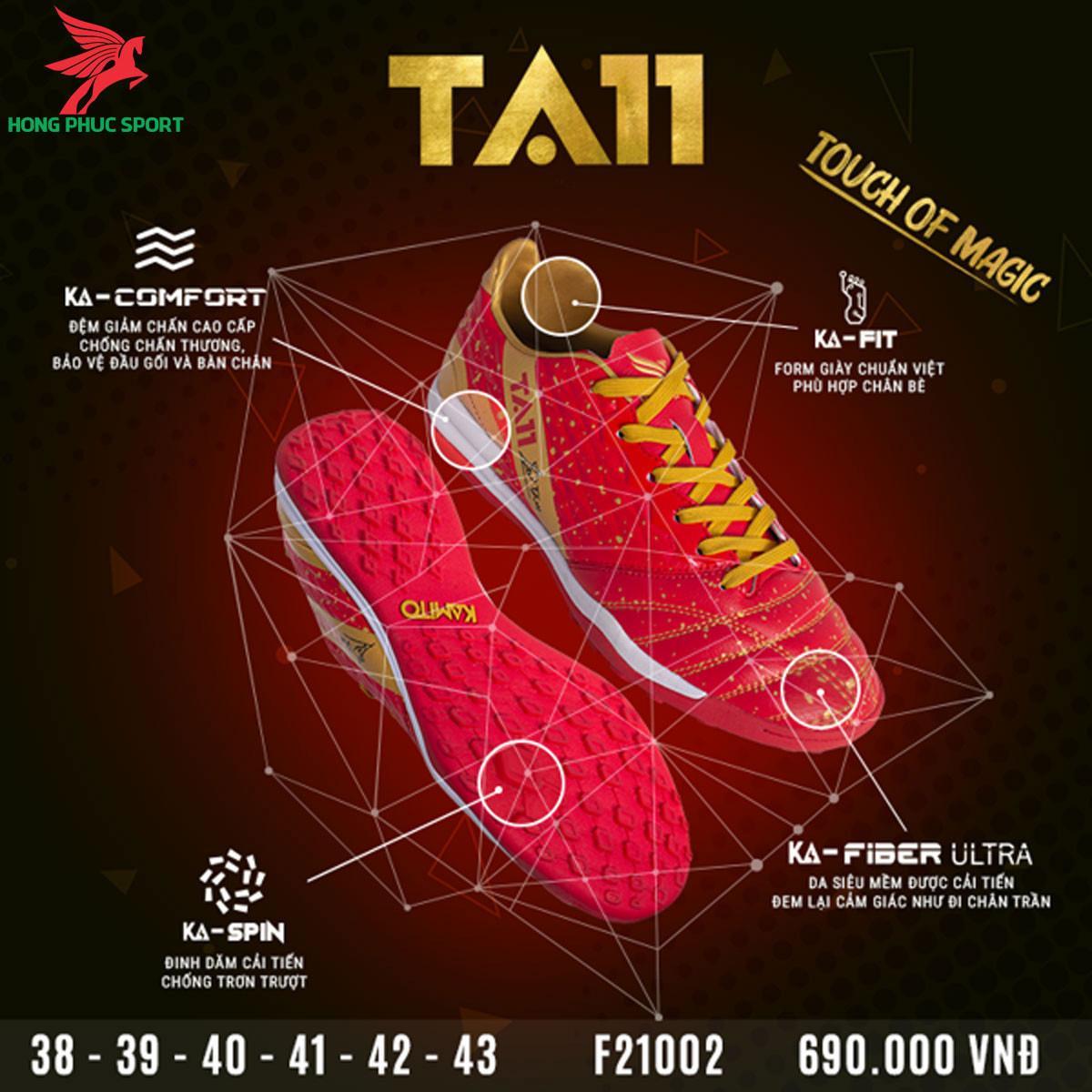 Giày đá banh Kamito TA11 sân cỏ nhân tạo màu đỏ