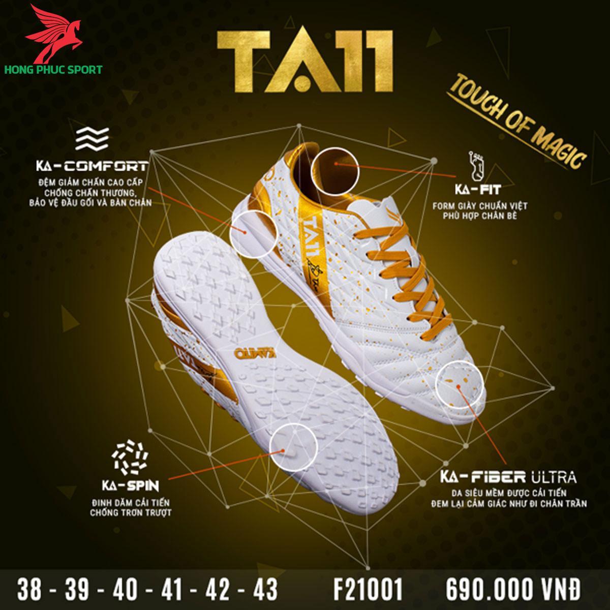 Giày đá banh Kamito TA11 sân cỏ nhân tạo màu Trắng